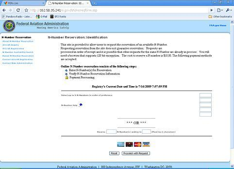 Screen shot of FAA N-Number Reservation page