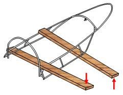 Use 2x4s to remove twist in frame.