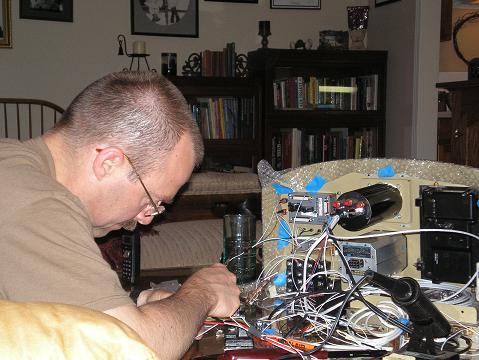 Me wiring the instrument panel