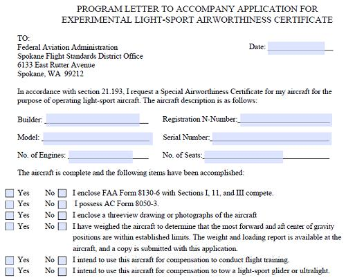 Program Letter to Accompany Application for Experimental Light-Sport Airworthiness Certificate